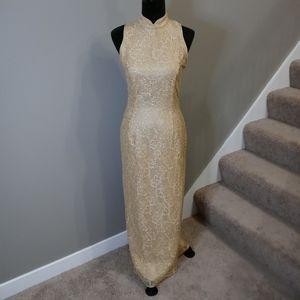 Gunne Sax Stunning Lace Gold Classy Dress 5/6